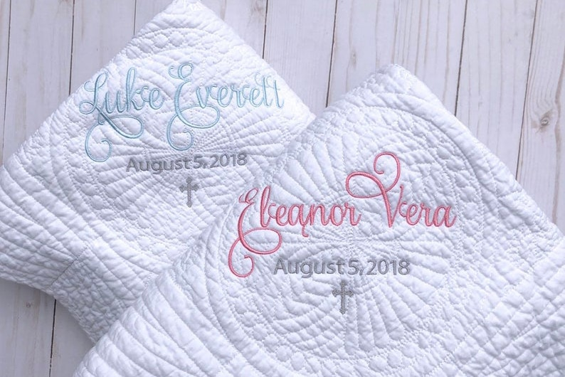 Personalized White Baby Blanket with Name